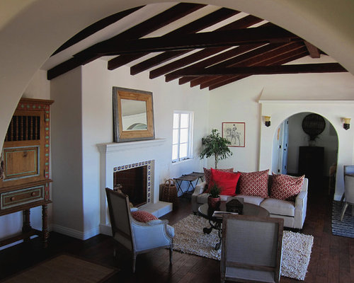 Small Tuscan Enclosed Medium Tone Wood Floor Living Room Photo In Santa Barbara With White Walls