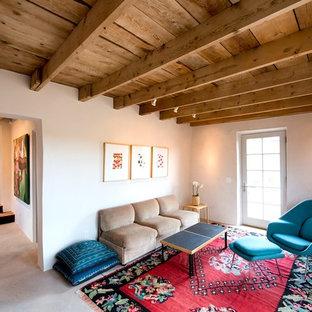 アルバカーキの小さいサンタフェスタイルのおしゃれなLDK (白い壁、コンクリートの床、コーナー設置型暖炉、漆喰の暖炉まわり、グレーの床) の写真
