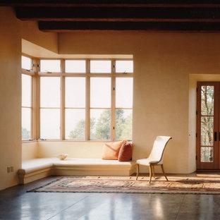 アルバカーキの大きいサンタフェスタイルのおしゃれな独立型リビング (オレンジの壁、コンクリートの床、グレーの床) の写真