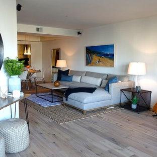 ロサンゼルスの中サイズのビーチスタイルのおしゃれなLDK (白い壁、淡色無垢フローリング、標準型暖炉、石材の暖炉まわり、内蔵型テレビ) の写真