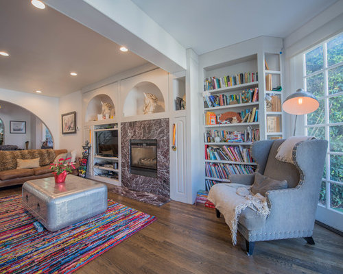 Example Of An Eclectic Open Concept Dark Wood Floor And Brown Floor Living  Room Library Design
