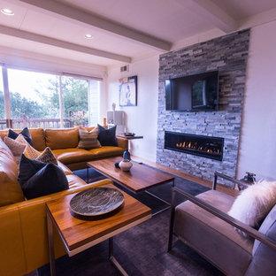 サンフランシスコの広いモダンスタイルのおしゃれなLDK (白い壁、無垢フローリング、横長型暖炉、石材の暖炉まわり、壁掛け型テレビ) の写真