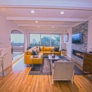 Esempio di un grande soggiorno minimalista aperto con pareti bianche, pavimento in legno massello medio, camino lineare Ribbon, cornice del camino in pietra e TV a parete