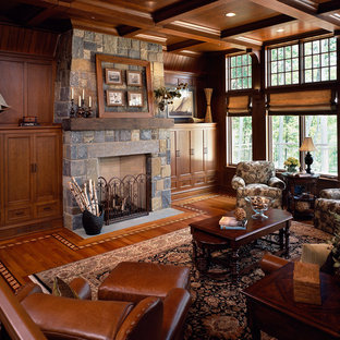 Example Of A Mid Sized Classic Formal And Enclosed Medium Tone Wood Floor  And Brown
