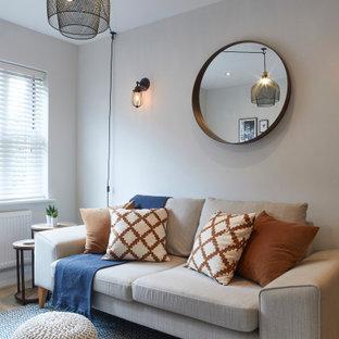 Foto de salón abierto, nórdico, pequeño, con paredes grises, suelo laminado, televisor independiente y suelo gris