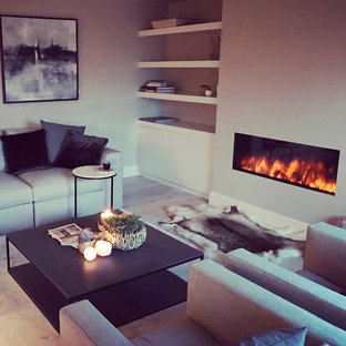 Imagen de biblioteca en casa abierta, nórdica, de tamaño medio, con paredes grises, suelo de madera clara, estufa de leña, marco de chimenea de yeso y televisor colgado en la pared