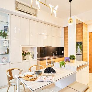 Small Scandinavian Kitchen Designs   Small Danish Marble Floor And White  Floor Kitchen Photo In Singapore