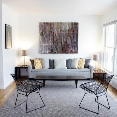 Living room - scandinavian formal light wood floor living room idea in Detroit with white walls