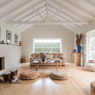 ロサンゼルスの中サイズの北欧スタイルのおしゃれなLDK (淡色無垢フローリング、標準型暖炉、テレビなし、フォーマル、白い壁、茶色い床、コンクリートの暖炉まわり) の写真