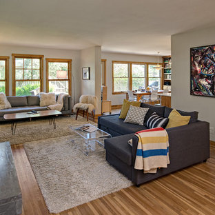 Inspiration for a mid-sized scandinavian open concept medium tone wood floor living room remodel in Minneapolis with white walls, a tile fireplace, a tv stand and a wood stove