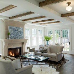 Living room - french country dark wood floor and brown floor living room idea in Minneapolis with white walls and a standard fireplace
