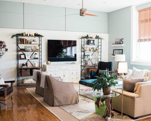 Landhausstil wohnzimmer mit blauer wandfarbe ideen design - Landhausstil wandfarbe ...