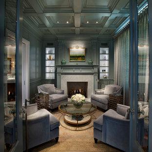 Idéer för ett klassiskt vardagsrum, med gröna väggar