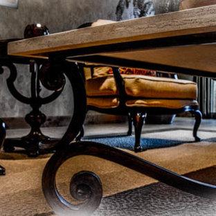フェニックスの中サイズの地中海スタイルのおしゃれなLDK (フォーマル、ベージュの壁、磁器タイルの床、標準型暖炉、石材の暖炉まわり、テレビなし) の写真
