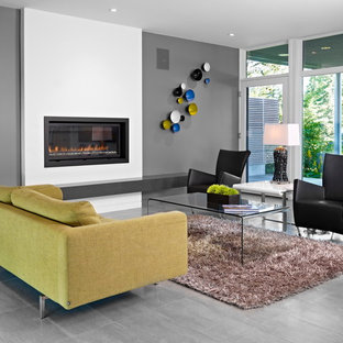 Inspiration for a modern porcelain floor and gray floor living room remodel in Edmonton with gray walls