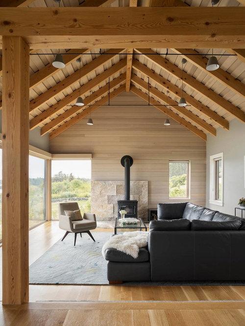 Maritime wohnzimmer mit grauer wandfarbe ideen design bilder houzz - Maritimes wohnzimmer ...