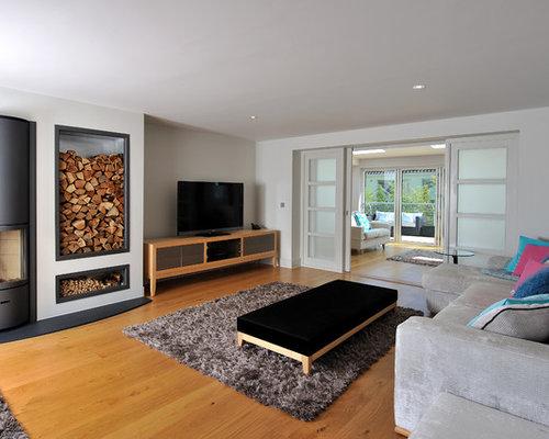 dividing doors living room. Example of a coastal formal and open concept light wood floor living room  design in Cornwall Dividing Door Houzz