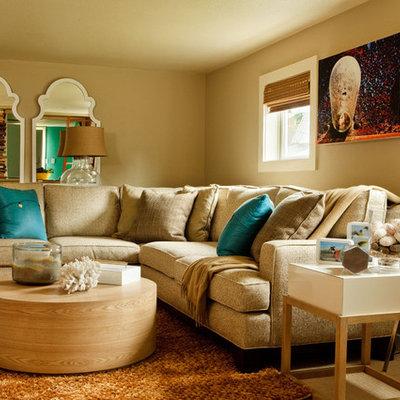 Living room - coastal living room idea in Portland with beige walls