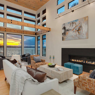Trendy Formal Light Wood Floor And Beige Floor Living Room Photo In Seattle  With White Walls