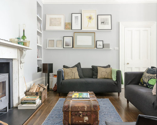 Contemporary Living Room In Other With Grey Walls And A Wood Burning Stove. Part 34
