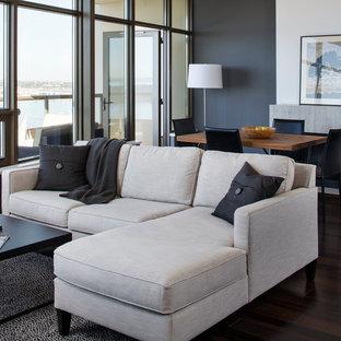 Modelo de salón abierto, minimalista, pequeño, con paredes grises, suelo de madera oscura y televisor colgado en la pared