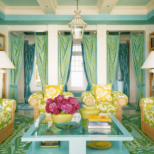 Inspiration for a contemporary living room remodel in New York with blue walls