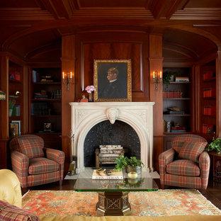 Idées déco pour un très grand salon classique avec un sol en bois foncé, une cheminée standard, un manteau de cheminée en pierre et une salle de réception.