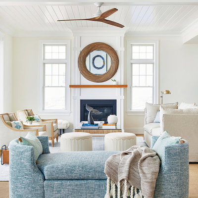 Beach style open concept and formal living room photo in New York with white walls, a standard fireplace and no tv