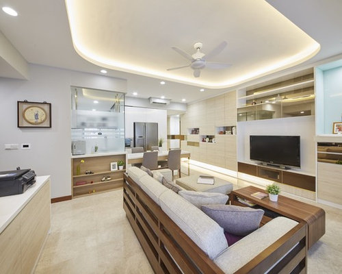Inspiration For A Large Modern Open Concept Marble Floor Living Room Remodel In Singapore With White