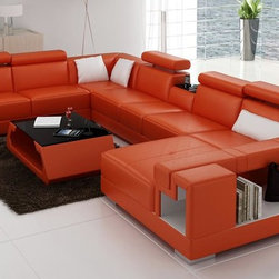 Sectional Sofa in Orange and White Bonded Leather - Features: