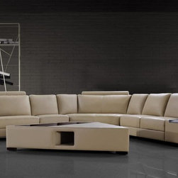 Sectional Sofa with Coffee Table in Beige Bonded Leather - Features: