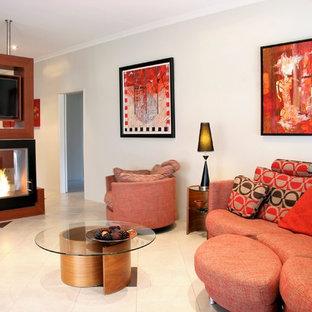 パースの大きいインダストリアルスタイルのおしゃれなLDK (白い壁、磁器タイルの床、両方向型暖炉、木材の暖炉まわり、据え置き型テレビ、白い床、フォーマル) の写真