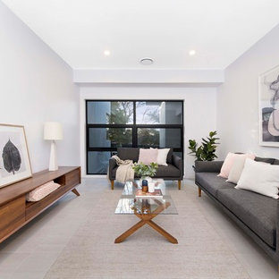 Inspiration for a mid-sized contemporary formal open concept living room in Canberra - Queanbeyan with ceramic floors, beige floor and white walls.