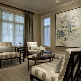 Example of a classic living room design in Chicago with beige walls