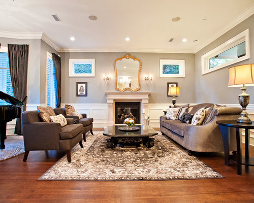 Revere Pewter Wall   Houzz Example of a classic living room design in Vancouver with a music area   dark hardwood. Benjamin Moore Revere Pewter Living Room. Home Design Ideas