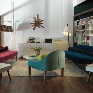 Living room - contemporary living room idea in Miami with white walls