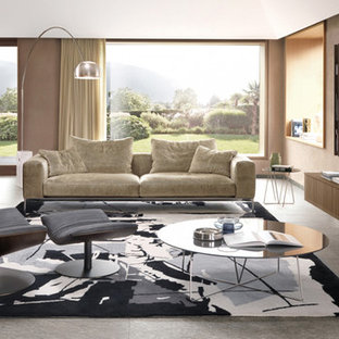 Large trendy open concept carpeted living room photo in Miami with beige walls