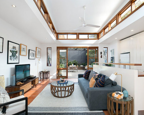 This Is An Example Of A Mid Sized Transitional Open Concept Living Room In  Sydney
