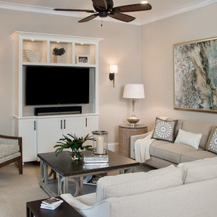 小さいビーチスタイルのおしゃれなLDK (ベージュの壁、カーペット敷き、壁掛け型テレビ) の写真