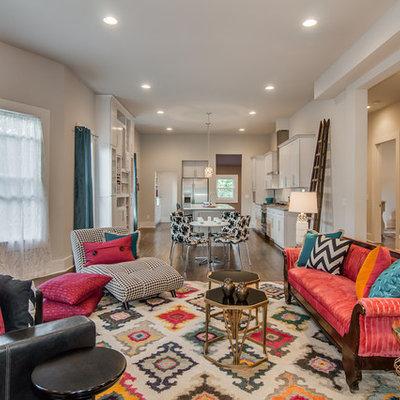 Eclectic formal and open concept dark wood floor and brown floor living room photo in Nashville with gray walls