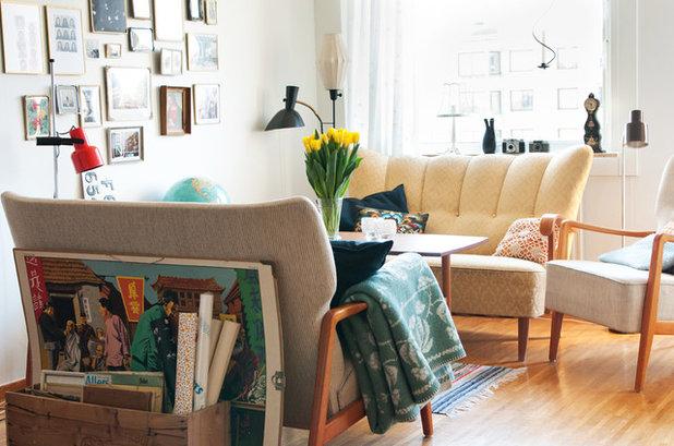 New Midcentury Living Room Shabby Chic inspirerad Vardagsrum