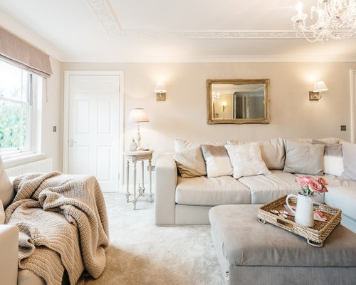 Inspiration For A Shabby Chic Style Enclosed Living Room In Cambridgeshire  With Carpet And Beige