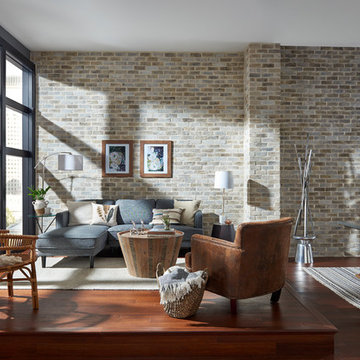 Shabby-Chic Living Room with TundraBrick Latigo