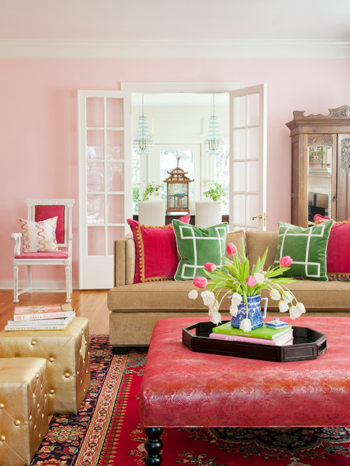 Inspiration For A Shabby Chic Style Living Room Remodel In Other With Pink  Walls Part 56