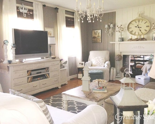 Best 30 Shabby-Chic Style Living Room with a Two-Sided Fireplace ...
