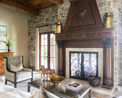Tuscan Living Room Photo In Orange County With A Two Sided Fireplace Part 92