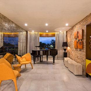 Modelo de sala de estar con rincón musical actual sin chimenea