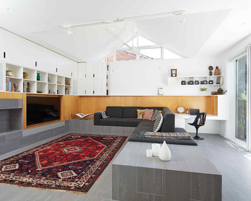This Is An Example Of A Mid Sized Scandinavian Open Concept Living Room In  Perth