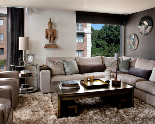 photos et id es d co de pi ces vivre asiatiques avec un mur gris. Black Bedroom Furniture Sets. Home Design Ideas