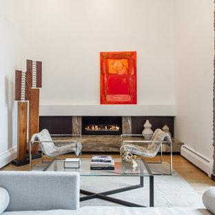 Großes Modernes Musikzimmer mit weißer Wandfarbe, hellem Holzboden, Gaskamin und Kaminumrandung aus Stein in Denver